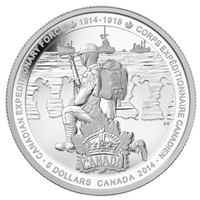 2014 Canada $5 Canadian Expeditionary Force Fine Silver (No Tax)