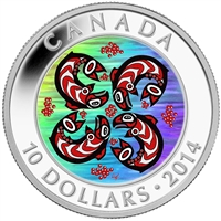 2014 Canada $10 First Nations Art - Salmon Fine Silver (No Tax)