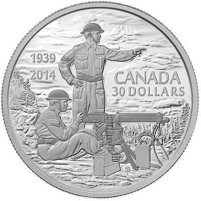 2014 Canada $30 75th Anniversary of the Declaration WWII (TAX Exempt) Dents in Box