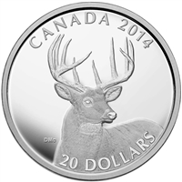 2014 Canada $20 The White-Tailed Deer - Portrait Fine Silver (No Tax)