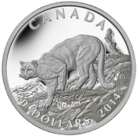 2014 Canada $20 Cougar: Atop A Mountain Fine Silver (TAX Exempt)