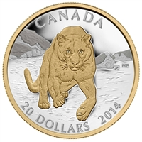 2014 Canada $20 Cougar - Pouncing in the Snow Fine Silver (No Tax)