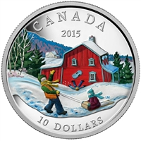 2015 Canada $10 Winter Scene Fine Silver Coin (TAX Exempt)