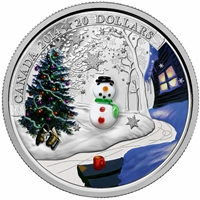 2014 Canada $20 Venetian Glass Snowman Fine Silver (TAX Exempt)