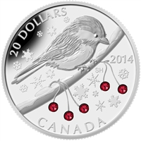2014 Canada $20 Chickadee with Winter Berries Fine Silver