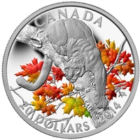 2014 Canada $20 Cougar - Perched on a Maple Tree Fine Silver (No Tax)