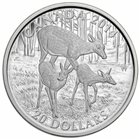 2014 Canada $20 White-Tailed Deer - Doe & Her Fawns Fine Silver (No Tax)