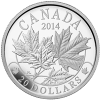 2014 Canada $20 Majestic Maple Leaves Fine Silver (TAX Exempt) 131197.