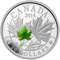 RDC 2014 Canada $20 Majestic Maple Leaves with Jade Fine Silver (Capsule Scratched)