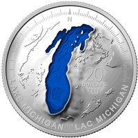 2015 Canada $20 The Great Lakes: Lake Michigan Fine Silver (No Tax)