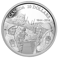 RDC 2014 Canada $10 70th Anniversary of D-Day Fine Silver (No Tax) Creased Sleeve