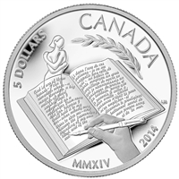 2014 Canada $5 Alice Munro Fine Silver Coin (No Tax) Scratched Coin