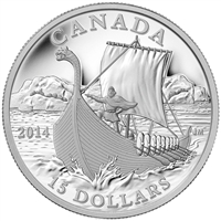 2014 $15 Exploring Canada - The Vikings Fine Silver (No Tax)