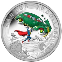 2014 Canada $10 Iconic Superman - Action Comics #1 Silver (No Tax) marks on coin