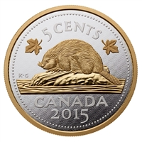 2015 Canada 5oz. 5-cent Big Coin Fine Silver (TAX Exempt)