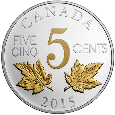 2015 5-cent Legacy of the Canadian Nickel - Two Maple Leaves (No Tax)