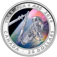2014 $20 Canadian Space Agency 25th Anniversary Fine Silver (No Tax)