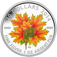 2014 Canada $20 Glow-in-the-Dark Maple Leaves Fine Silver (No Tax)