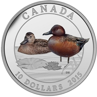 2015 $10 Ducks of Canada - Cinnamon Teal Duck Fine Silver (No Tax)