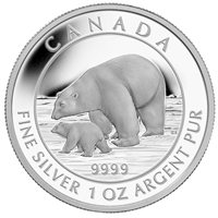 2015 Canada $5 Polar Bear and Cub Fine Silver Coin (Tax Exempt)