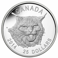 2014 $25 The Fierce Canadian Lynx Silver Ultra High Relief (No Tax)