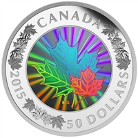 2015 Canada $50 Lustrous Maple Leaves 5oz. Fine Silver Hologram (TAX Exempt)