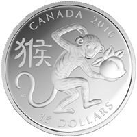 2016 Canada $15 Zodiac Year of the Monkey Fine Silver (TAX Exempt)