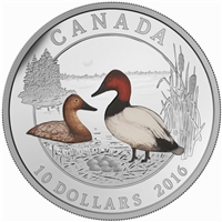 2016 $10 Ducks of Canada - Canvasback Duck Fine Silver Coin (TAX Exempt)