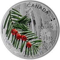2015 $20 Forests of Canada - Columbian Yew Tree Fine Silver (No Tax)