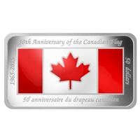 2015 $50 50th Anniversary Canadian Flag Silver Rectangular Coin (No Tax)