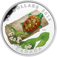 2015 Canada $20 Venetian Glass Turtle & Broadleaf Flower