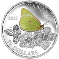 2015 $20 Butterflies of Canada - Giant Sulphur Fine Silver (TAX Exempt)