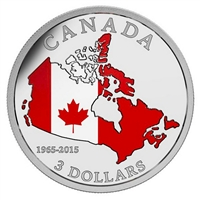2015 $3 50th Anniversary of the Canadian Flag Fine Silver (No Tax)