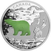 2015 $20 Canadian Icons: Polar Bear (with Jade) Fine Silver
