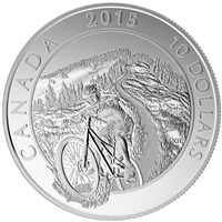2015 $10 Adventure Canada Mountain Biking Fine Silver (No Tax)
