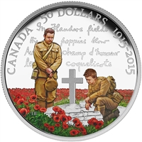 2015 Canada $50 In Flanders Field Centennial Coloured 5oz. Silver (TAX Exempt)