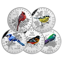 RDC 2015 Canada $10 Colourful Songbirds 5-Coin Set & Deluxe Box (No Tax) Impaired