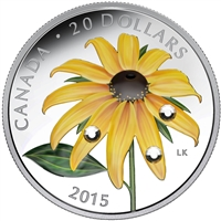 2015 Canada $20 Black-Eyed Susan with Crystal Dew Drops (NO Tax)