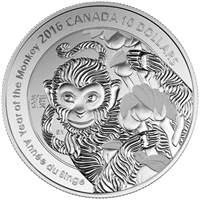 2016 Canada $10 Year of the Monkey Fine Silver (No Tax)