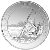 2015 $10 Adventure Canada - Windsurfing Fine Silver (No Tax)