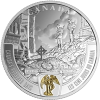 2018 $20 First World War Battlefront - Canada's Hundred Days Fine Silver