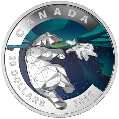 2016 Canada $20 Geometry In Art - The Polar Bear Fine Silver (No Tax)
