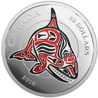 2016 Canada $50 Mythical Realms of the Haida - Orca 5oz. Silver (No Tax)