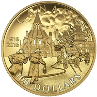 2016 Canada $100 Centennial of the Parliament Buildings Fire 14K Gold
