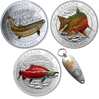 2016 Canadian Salmonids $20 3-coin Set with Fishing Lure (TAX Exempt)