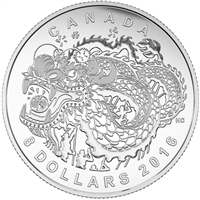RDC 2016 Canada $8 Dragon Dance Fine Silver Coin (TAX Exempt) Dented Sleeve