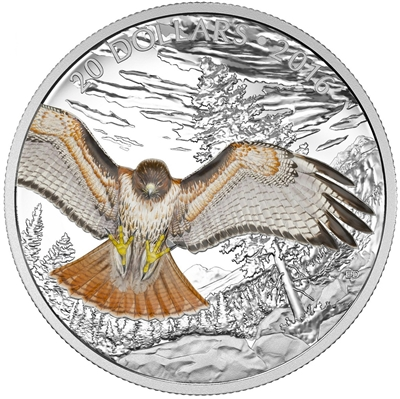 2016 Canada $20 Majestic Animals - Regal Red Tailed Hawk (TAX Exempt)