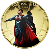 2016 Canada $100 Batman VS Superman Dawn of Justice 14K Gold Coin (scratched capsule)