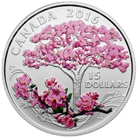 RDC 2016 Canada $15 Cherry Blossoms Fine Silver Coin (No Tax) Missing Sleeve