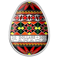 2016 Canada $20 Traditional Ukrainian Pysanka (Egg-Shaped) Silver (No Tax)